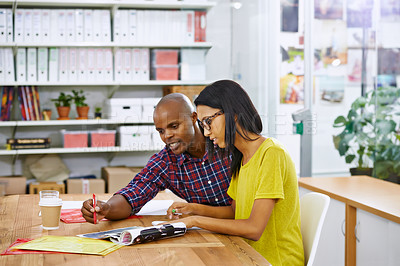 Buy stock photo Shot of a young designers working together in an office
