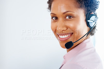 Buy stock photo Closeup of African American customer service representative on white background