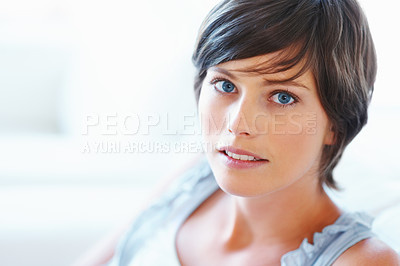 Buy stock photo Closeup of pretty young woman on white background