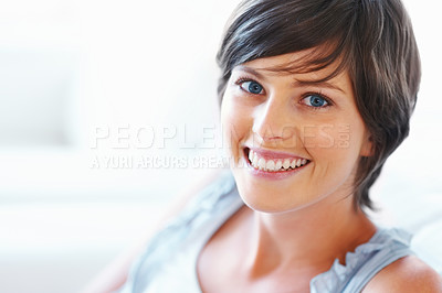 Buy stock photo Closeup of pretty young woman smiling on white background