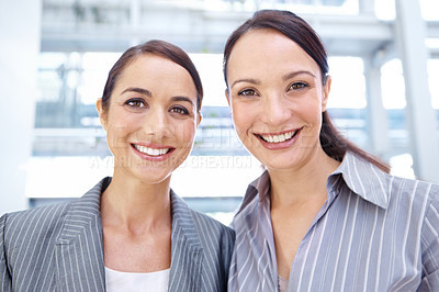 Buy stock photo Happy young businesswomen smiling together - portrait