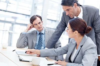 Buy stock photo Team of business executives working together to achieve success