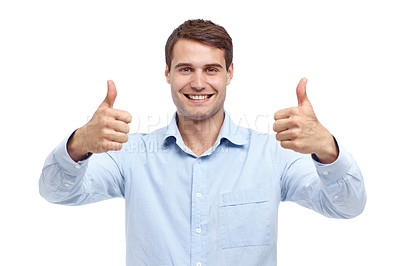 Buy stock photo Happy young man holding up two thumb's ups - portrait