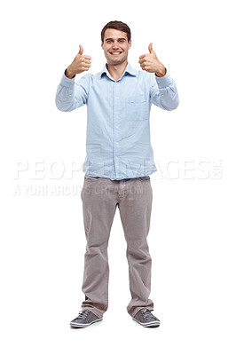Buy stock photo Happy young man holding up two thumb's ups - isolated