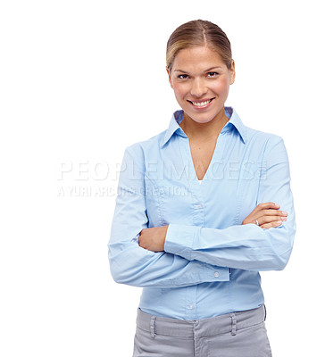 Buy stock photo Beautiful young blonde woman smiling at the camera with her arms folded - isolated