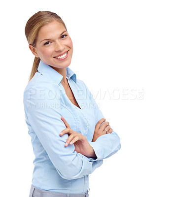 Buy stock photo Gorgeous young blonde woman smiling at the camera with her arms folded - copyspace