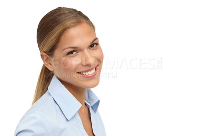 Buy stock photo Closeup of a beautiful young blonde woman smiling at the camera - copyspace