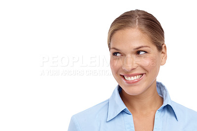 Buy stock photo Gorgeous young blonde woman looking sideways - copyspace