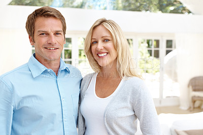 Buy stock photo Happy mature couple smiling while standing together