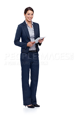 Buy stock photo Attractive young businesswoman using a digital tablet