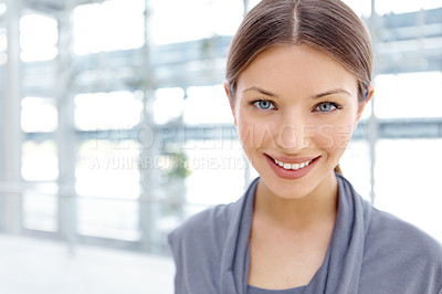 Buy stock photo Closeup portrait of a pretty young businesswoman alongside copyspace
