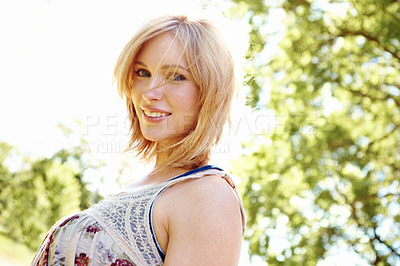 Buy stock photo Portrait of smiling blonde with outdoor copyspace