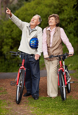 Buy stock photo Full length of a happy mature couple with bicycle, man pointing at something interesting