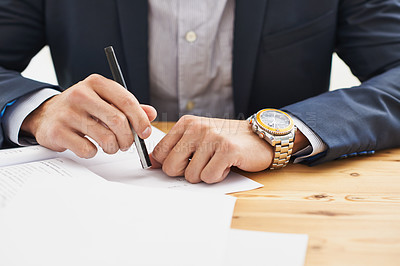 Buy stock photo Cropped shot of  a business man writing
