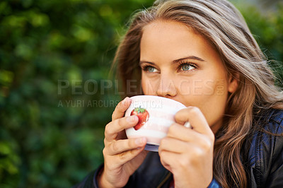 Buy stock photo Portrait of a beautiful teen holding a cup of coffee