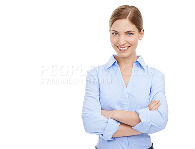 Buy stock photo Studio shot of a beautiful young businesswoman posing against a white background