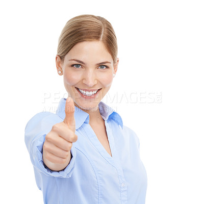 Buy stock photo Studio shot of a beautiful young businesswoman giving you thumbs up against a white background
