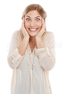 Buy stock photo Studio shot of a beautiful young woman looking excited against a white background