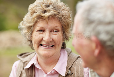 Buy stock photo Closeup portrait of a happy senior woman with a mature man