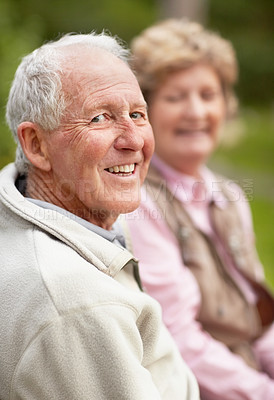 Buy stock photo Portrait of a happy mature man with a senior blur woman smiling