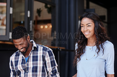 Buy stock photo Shot of a happy couple spending time together