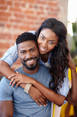 Buy stock photo Cropped shot of a young couple enjoying each other's company