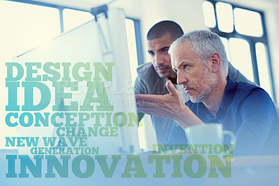 Buy stock photo Shot of two colleagues having a discussion at a computer in the office