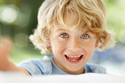 Buy stock photo Closeup portrait of cheerful little boy with grey eyes smiling
