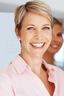 Buy stock photo Closeup portrait of a smiling young businesswoman looking confident at office