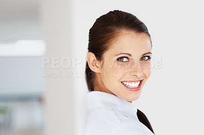 Buy stock photo Portrait of a beautiful young female executive looking at you