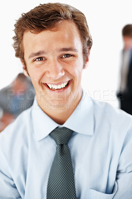 Buy stock photo Portrait of a smiling male business executive at office