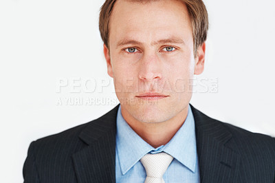Buy stock photo Closeup portrait of a confident young businessman in suit