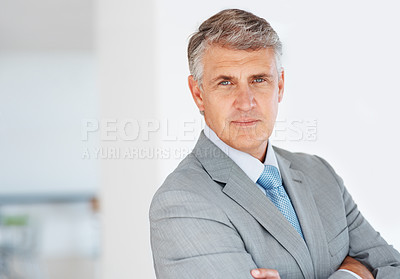 Buy stock photo Portrait of a smart mature businessman in suit looking confidently