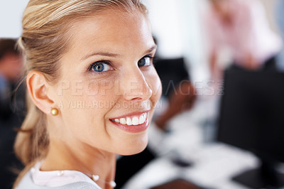 Buy stock photo Closeup portrait of a smiling young businesswoman taking a break from the work at office