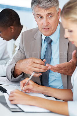 Buy stock photo Portrait of a professional businessman sitting with his colleague and negotiating