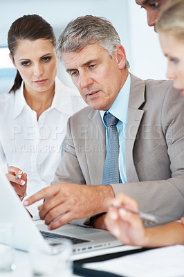 Buy stock photo Portrait of a business people meeting in front of a laptop computer