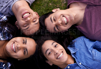 Buy stock photo High angle portrait of a group of friends relaxing together on the grass
