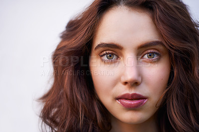 Buy stock photo Closeup portrait of a young woman
