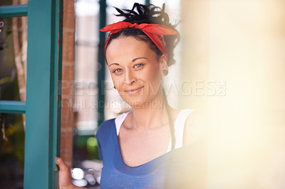 Buy stock photo Portrait of a young woman with dreadlocks at home