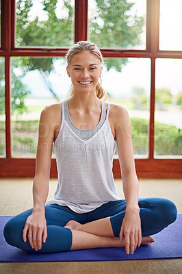Buy stock photo Portrait of a young woman doing yoga at home