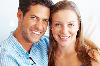 Buy stock photo Closeup portrait of couple smiling and looking at you