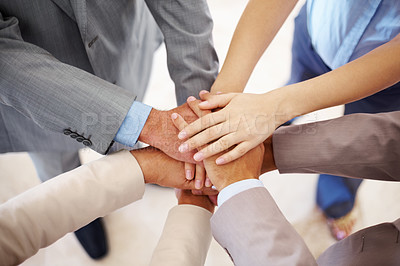 Buy stock photo Closeup of pile of hands of business partners - Teamwork and teamspirit