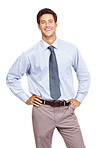 Happy young business man standing confidently