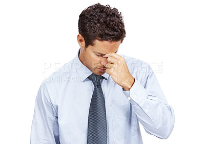 Buy stock photo Portrait of an young male executive having headache against white background
