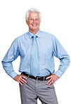 Confident mature businessman standing with hands on hips