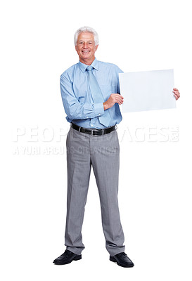Buy stock photo Portrait of a smiling old business man standing with a blank billboard over white background