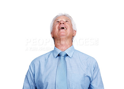 Buy stock photo Portrait of a surprised old business man looking up at copyspace isolated over white background