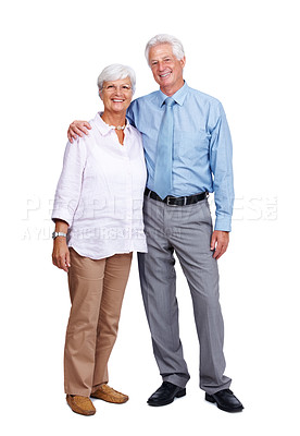 Buy stock photo Full length portrait of a smiling old couple standing together isolated on white background