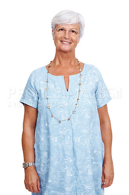 Buy stock photo Portrait of a relaxed casual old woman standing isolated against white background
