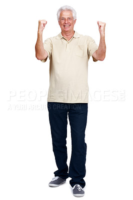 Buy stock photo Full length portrait of an excited retired man isolated against white background